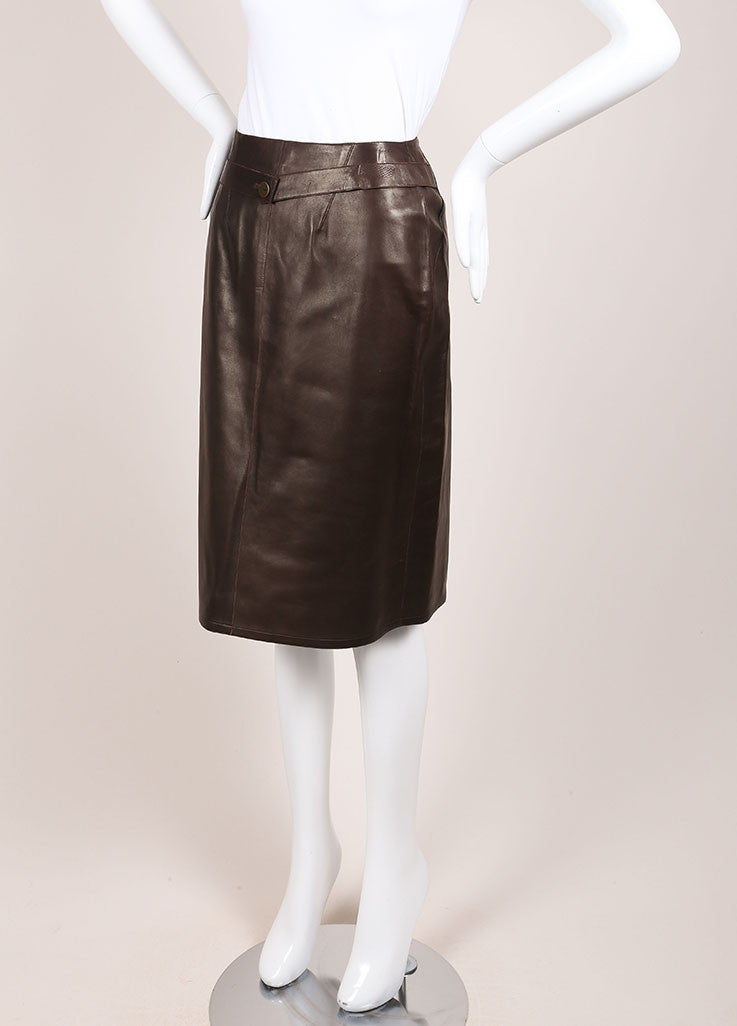 Chanel Brown Leather Wrap Skirt Sideview