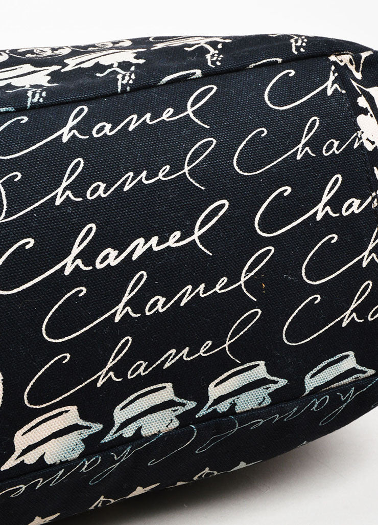 Black and Blush Chanel Canvas Script Printed Plastic Chain Strap Frame Shoulder Bag Bottom View