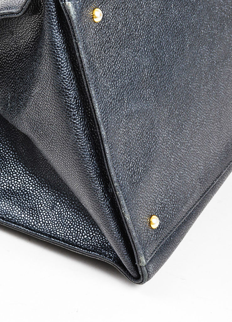 "Black Chanel Caviar Leather 'CC' ""Marron Fonce"" Tote Bag Detail"