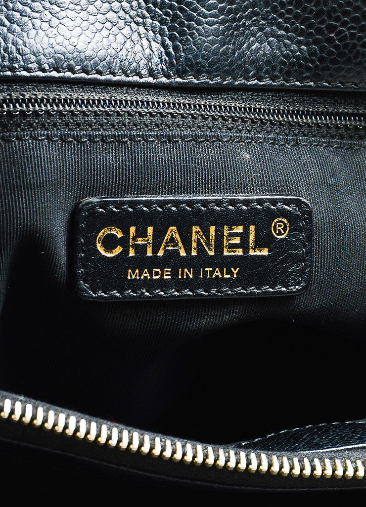 "Black Chanel Caviar Leather Quilted Chain Strap ""Grand Shopping"" Tote Brand"