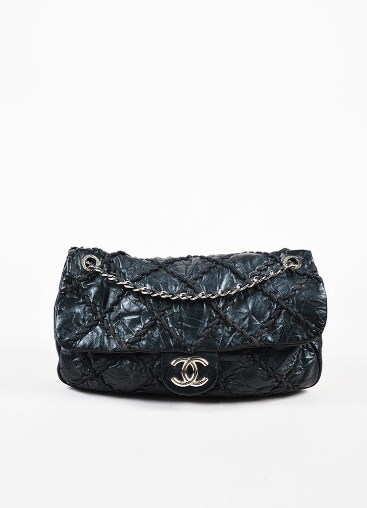 "Chanel Black Crinkled Leather Silver Toned Chain ""Ultra Stitch Jumbo Flap"" Bag Frontview"
