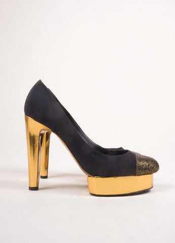 Chanel Black and Gold Toned Woven Metallic Glitter Cap Toe Platform Pumps Sideview