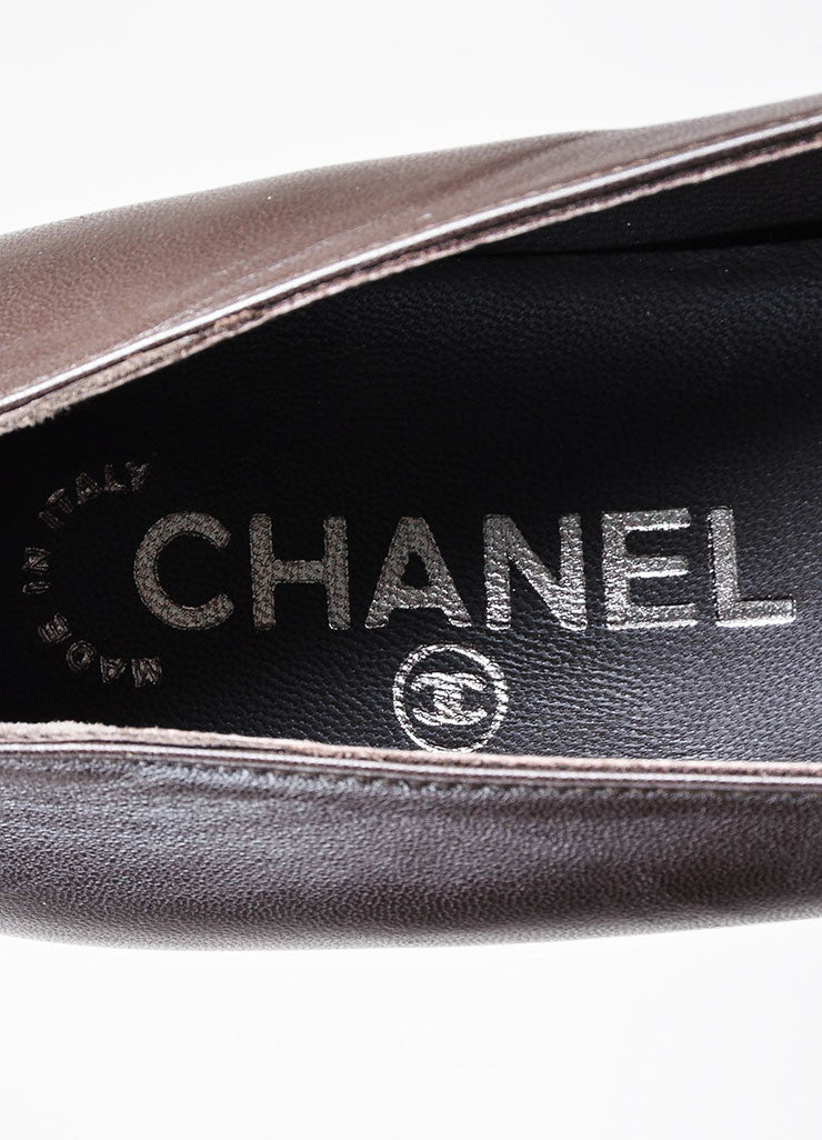 Brown Chanel Leather Chain Detail Pointed Toe Flats Brand