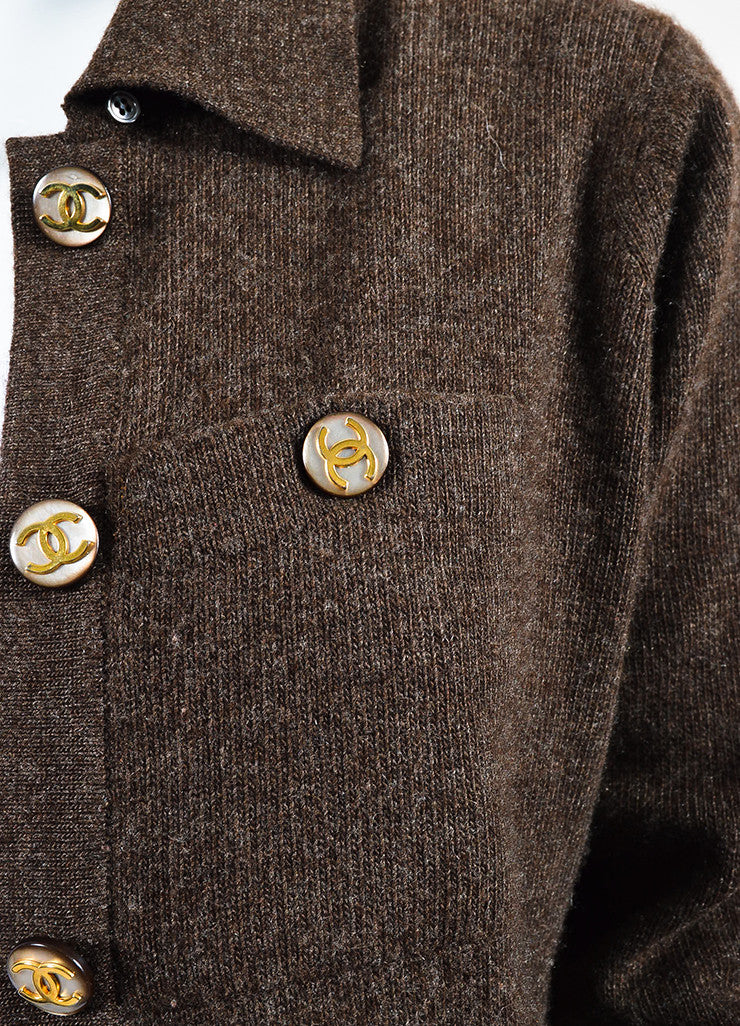 Chanel Brown Woven Knit Opaque 'CC' Button Sweater Cardigan Detail
