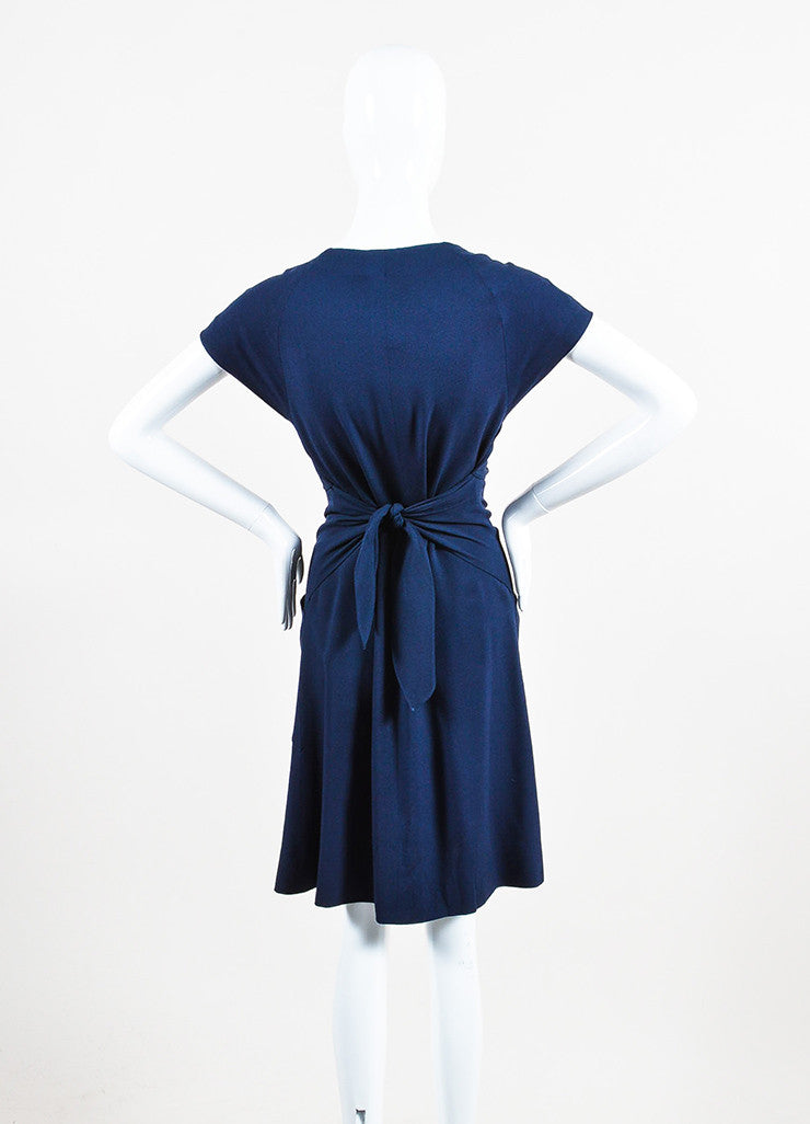 "Navy Blue Chanel Gold Tone ""CC"" Button Ruffle Trim Short Sleeve Dress Back"