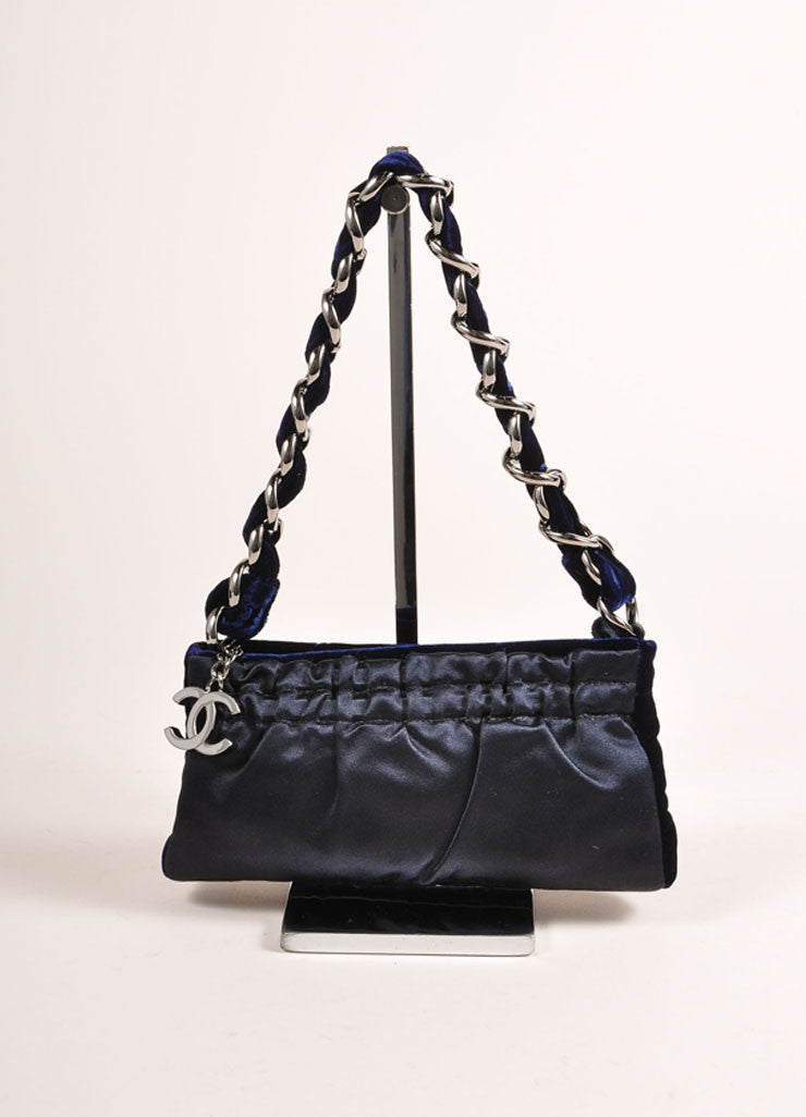 Chanel Navy Blue and Silver Toned Velvet Chain Strap Small Handbag Frontview