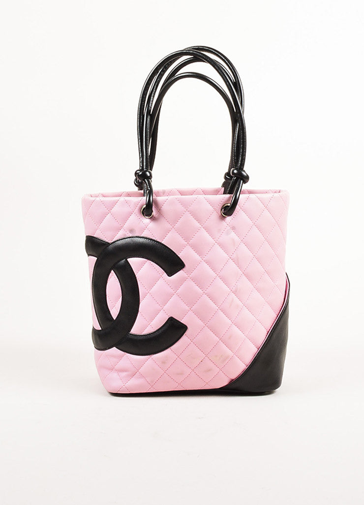 "Chanel Pink and Black Quilted Leather 'CC' Logo ""Ligne Cambon"" Tote Bag Frontview"
