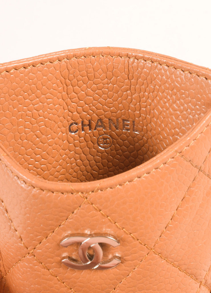 "Chanel Tan Quilted Leather and Silver Toned ""CC"" Cell Phone Holder Brand"