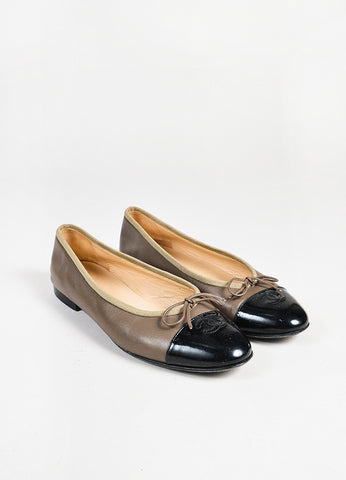 Chanel Taupe Brown and Black Leather Patent 'CC' Cap Toe Ballerina Flats Frontview