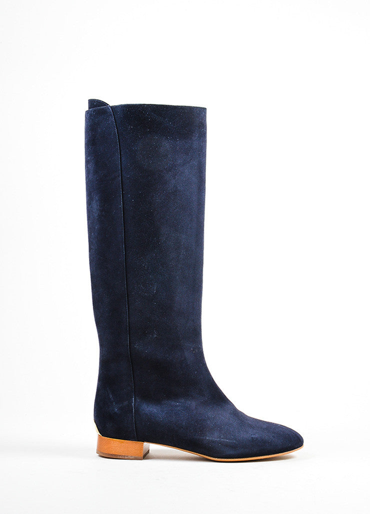 "Navy Blue, Tan, and Gold Toned Chloe Suede Leather ""Celtic Night"" Boots Sideview"
