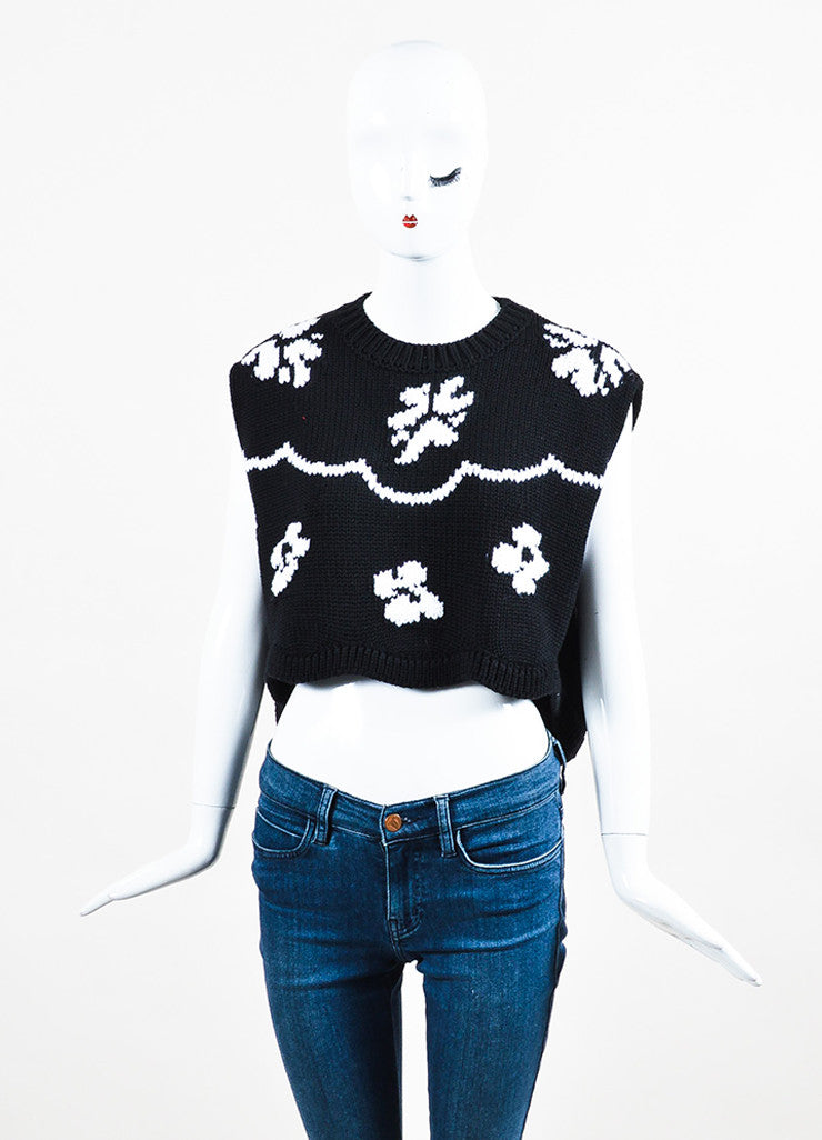 Black and White Christian Dior Floral Cropped Sleeveless Sweater Front