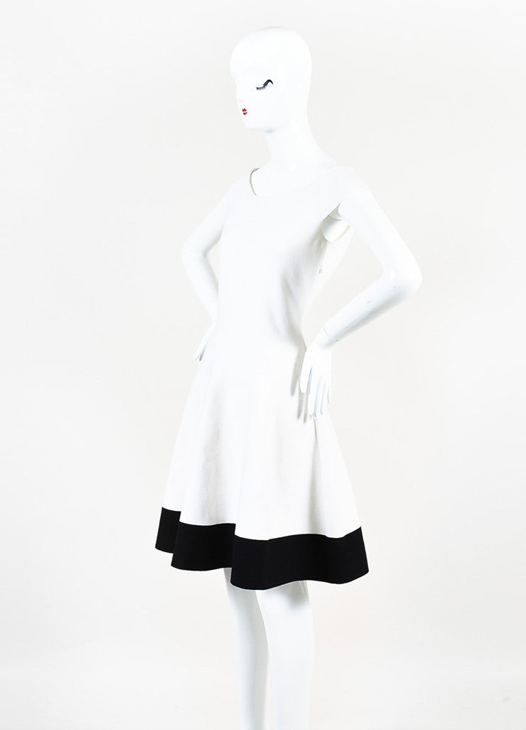 Cream and Black Christian Dior Wool Knit Off Shoulder Fit Flare Dress Sideview