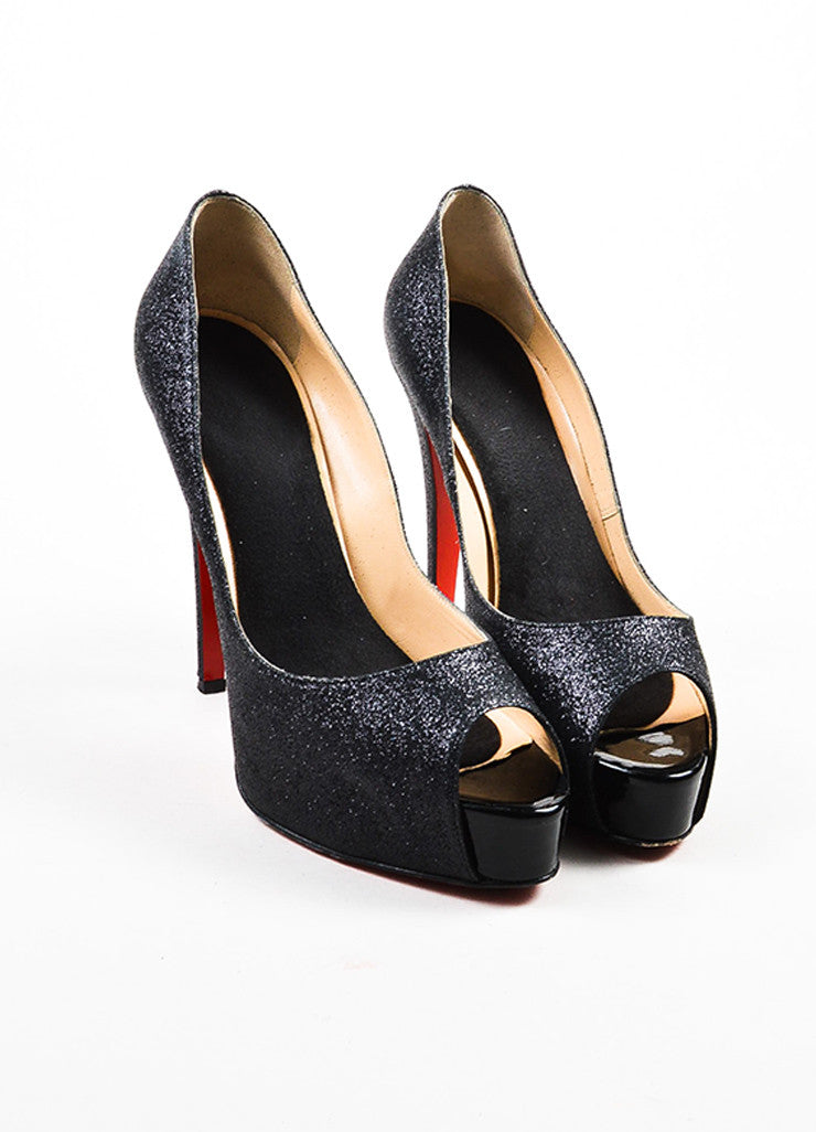 "Christian Louboutin Black Glitter ""Hyper Prive 120"" Platform Pumps Frontview"
