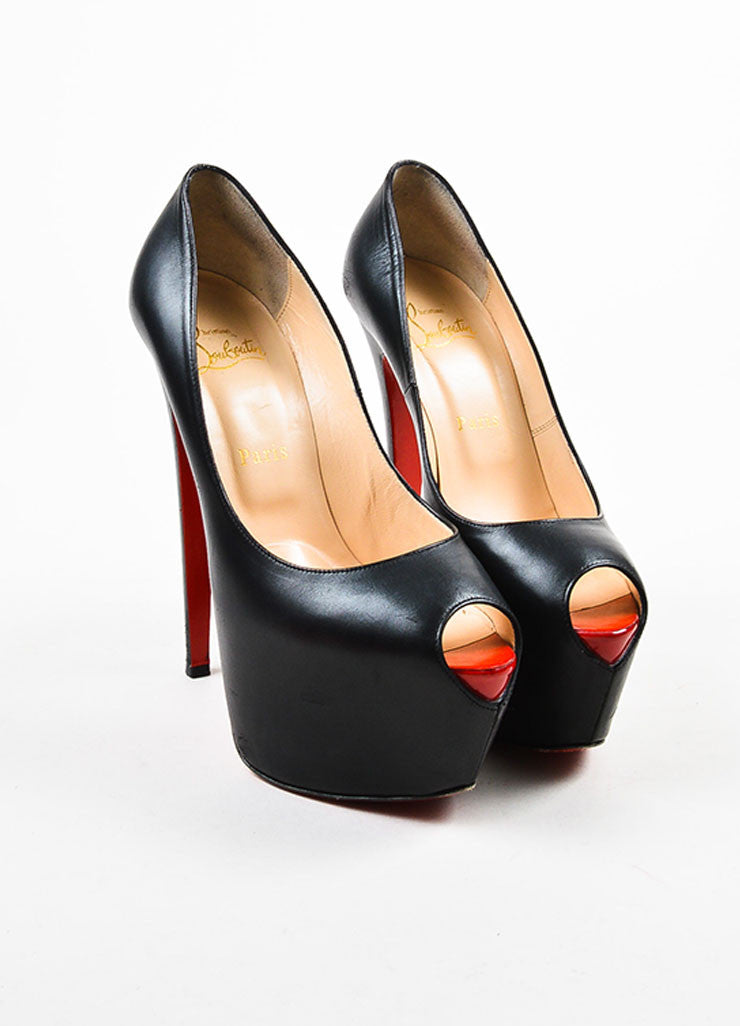 "Black Christian Louboutin Leather Peep Toe ""Highness"" Platform Pumps Front"