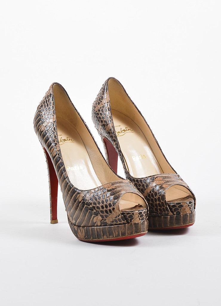 Christian Louboutin Brown and Tan Python Peep Toe Platform Pumps Frontview