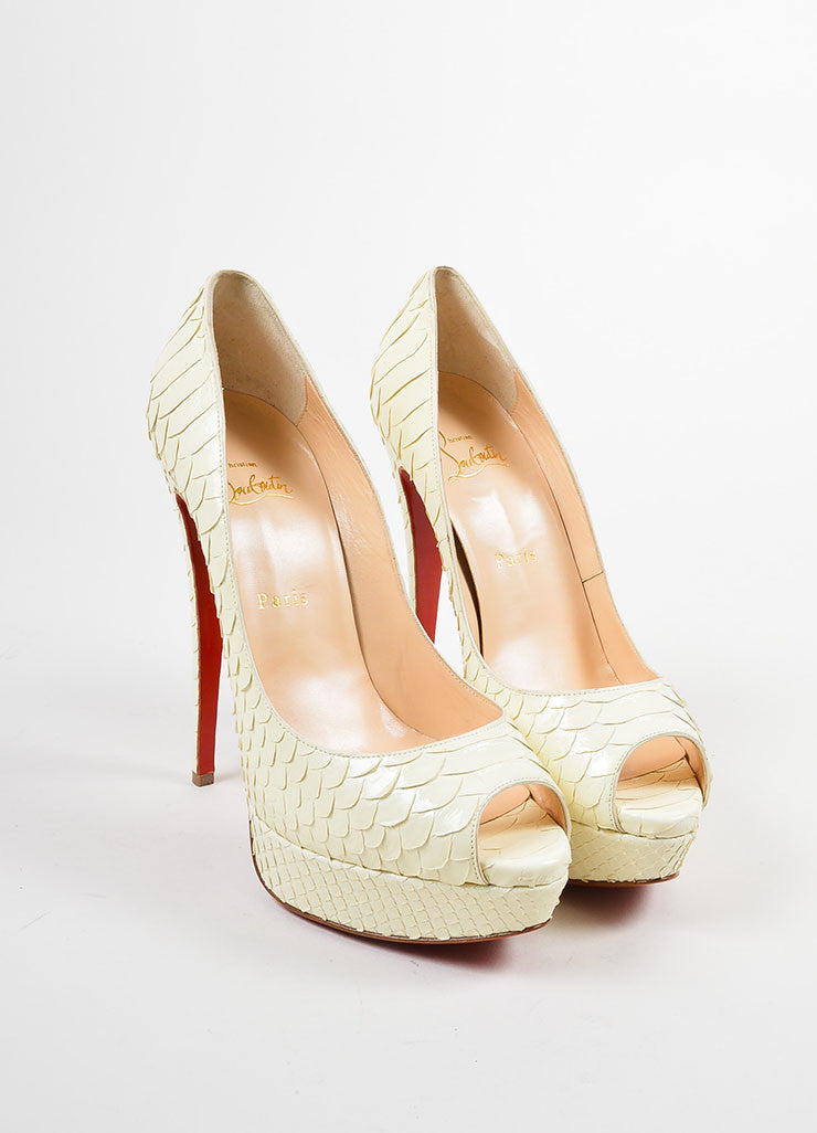 "Christian Louboutin Cream Python Leather ""Lady Peep 150 Crystal"" Pumps Frontview"