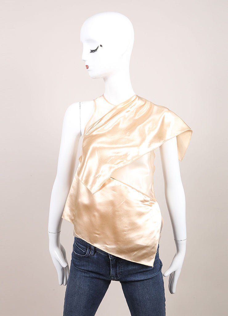 Christopher Kane New With Tags Nude Sheer Draped Sleeveless Top Frontview
