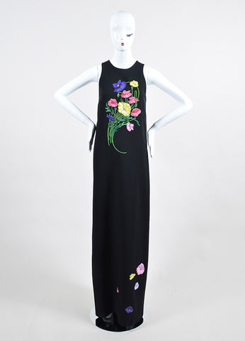Black and Multicolor Christopher Kane Floral Embroidery Sleeveless Maxi Dress Frontview