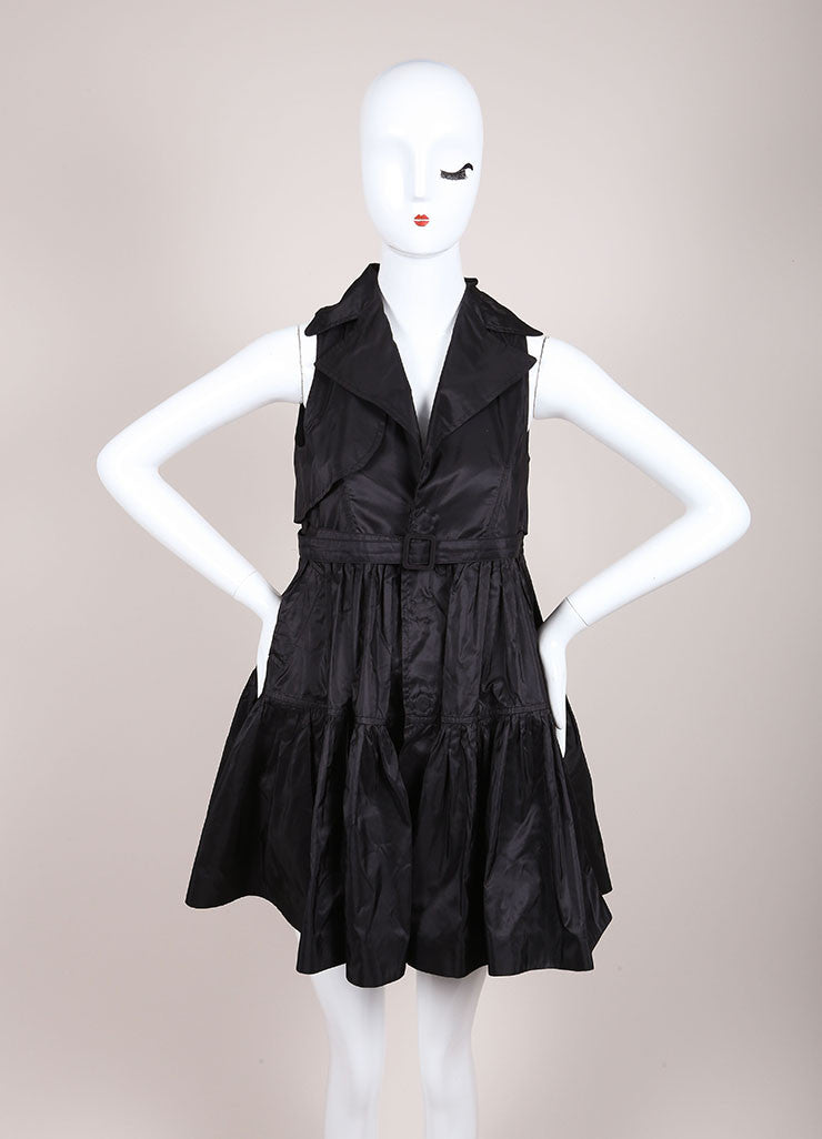DSquared2 Black Silk Taffeta Trench Sleeveless Dress Frontview