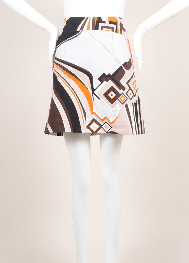 Emilio Pucci Orange, Black, and Multicolor Cotton Abstract Print Short Skirt Frontview