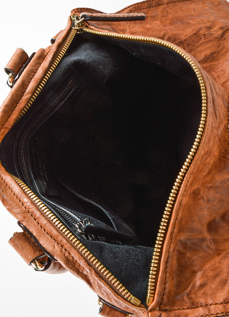 "Tan Givenchy Distressed Leather Crossbody ""Pepe Pandora Messenger"" Bag Iterior"