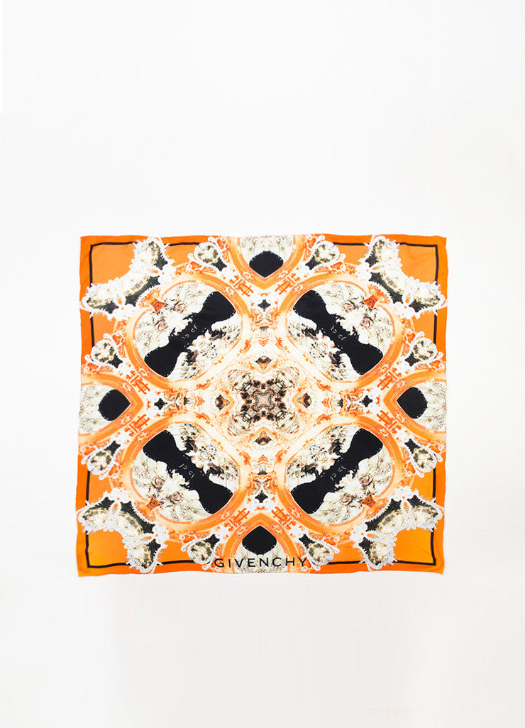 Givenchy Orange, Black, and Grey Silk Kaleidoscope Print Scarf Frontview 2