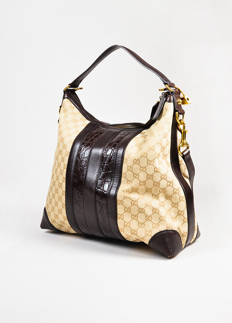 "Gucci Tan GG Logo Canvas Brown Crocodile Leather ""Secret Medium Hobo"" Bag Sideview"