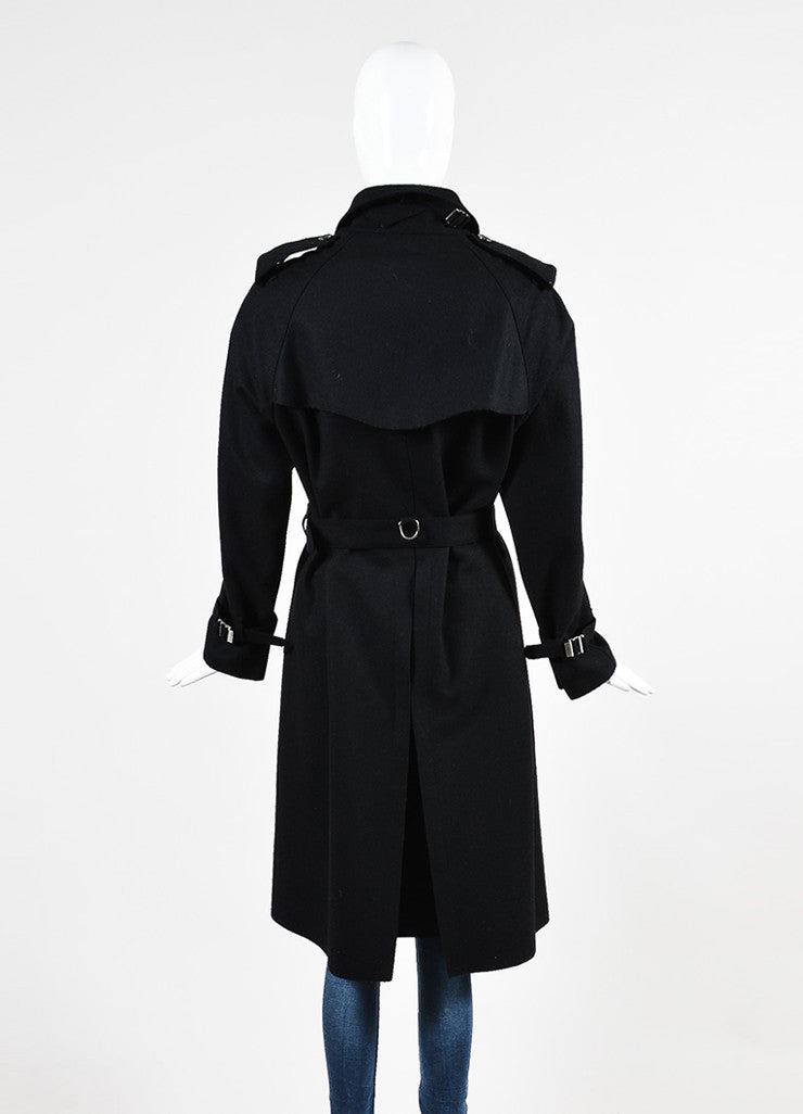 Gucci Black Wool Double Breasted Button Up Belted Trench Coat Backview