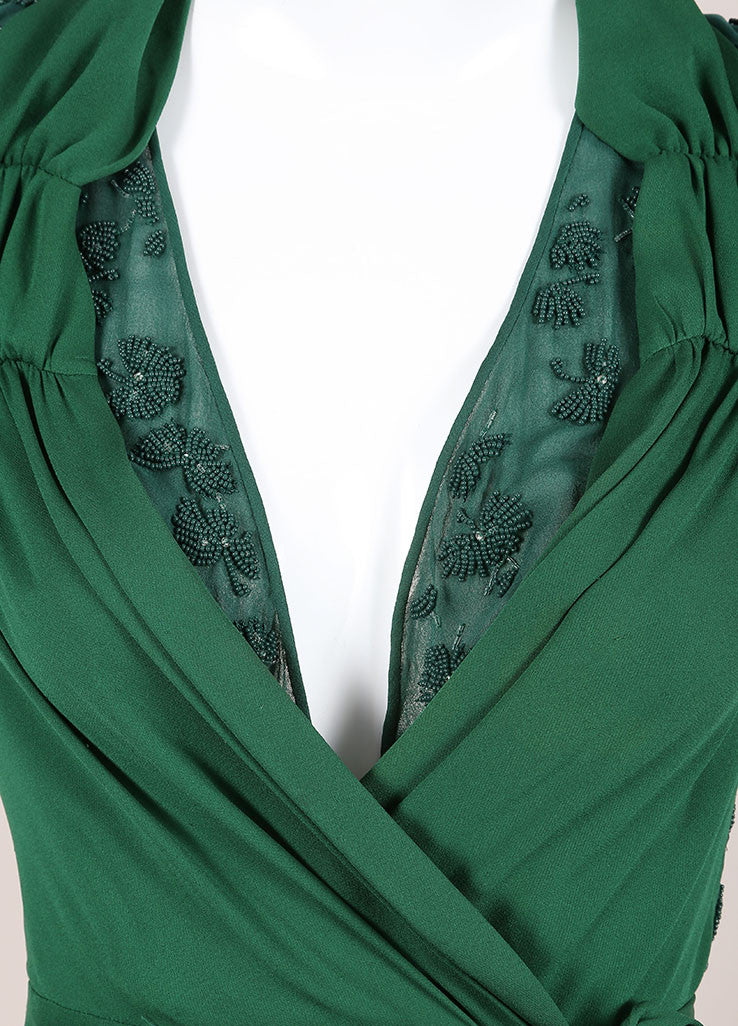 Gucci Green Beaded Short Sleeve Open Back Wrap A-Line Dress Detail