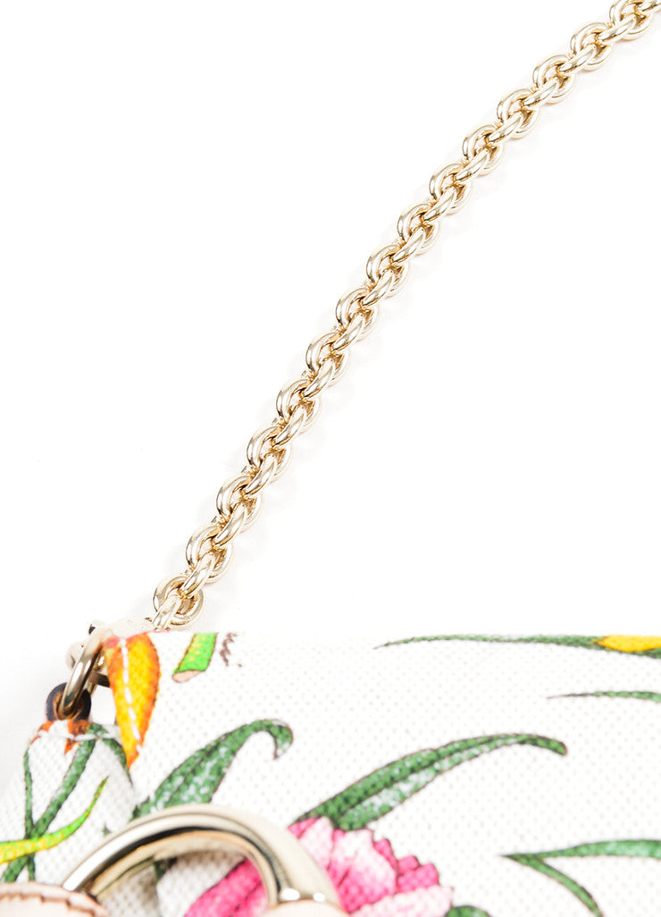 Multicolor and Cream Gucci Flora Collection Horsebit Small Flap Clutch Detail 2