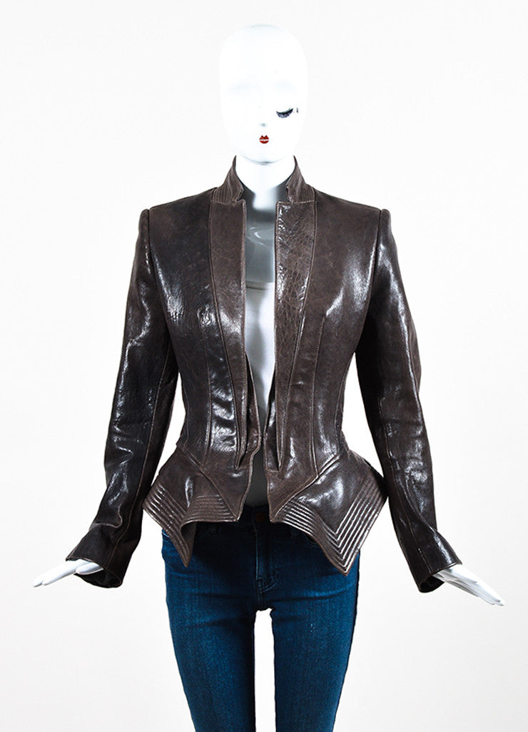 Haider Ackermann Brown Distressed Leather Exaggerated Peplum Jacket Frontview 2