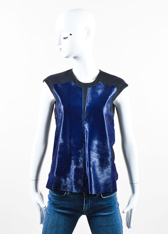 Helmut Lang Black and Navy Blue Pony Hair and Wool Sleeveless Top Frontview