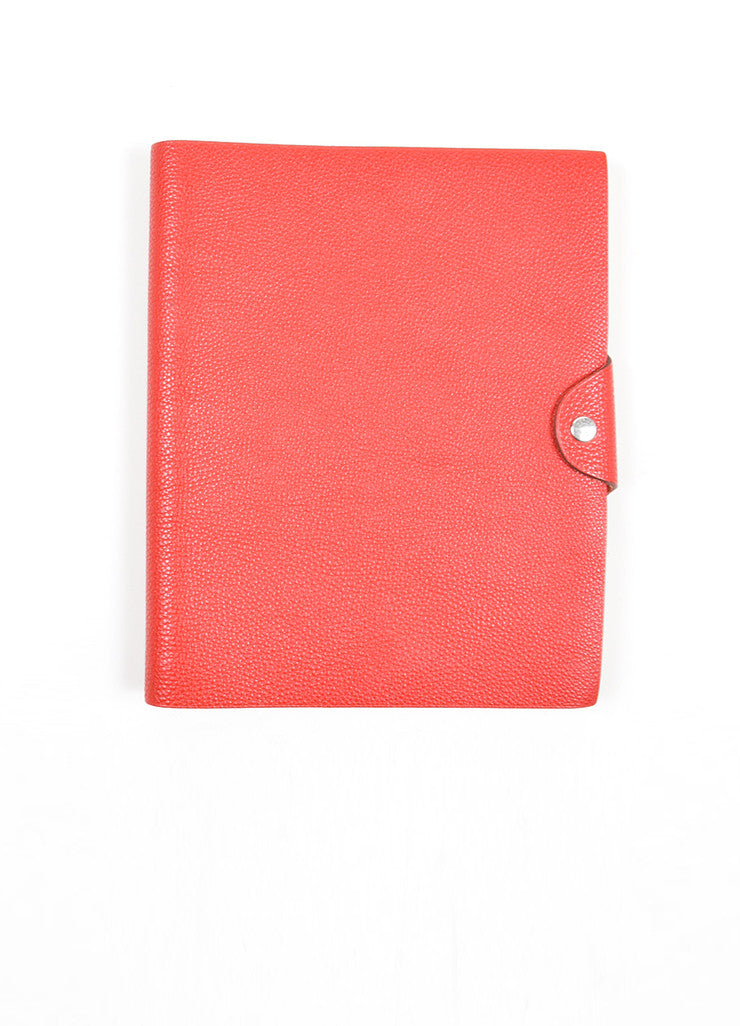 "Red Togo Leather Hermes ""Ulysse MM"" Snap Agenda with Paper Frontview"