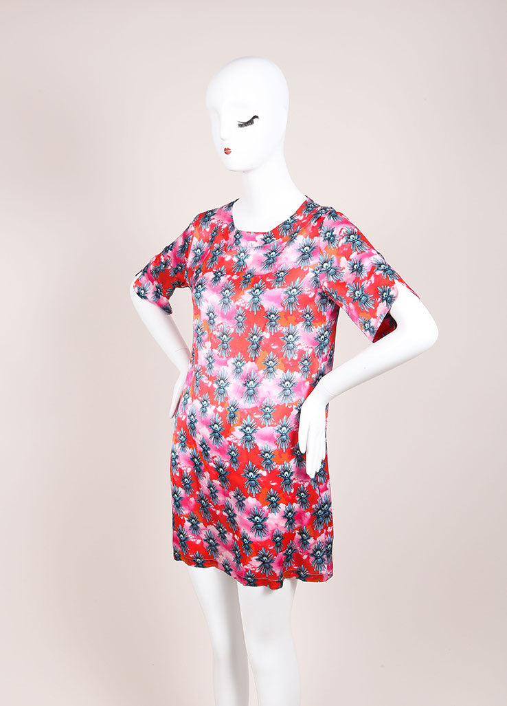 House of Holland New With Tags Red and Pink Dove Graphic Print Short Sleeve Dress Sideview