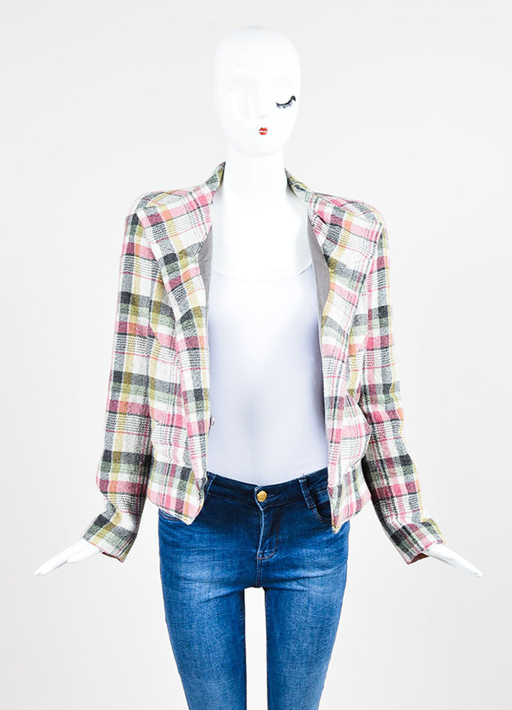 "Multicolor Isabel Marant Wool Blend Plaid ""Madoc"" Belted Jacket Frontview"
