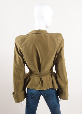 "Isabel Marant Army Green Cotton Peplum Military ""Janey"" Jacket Backview"
