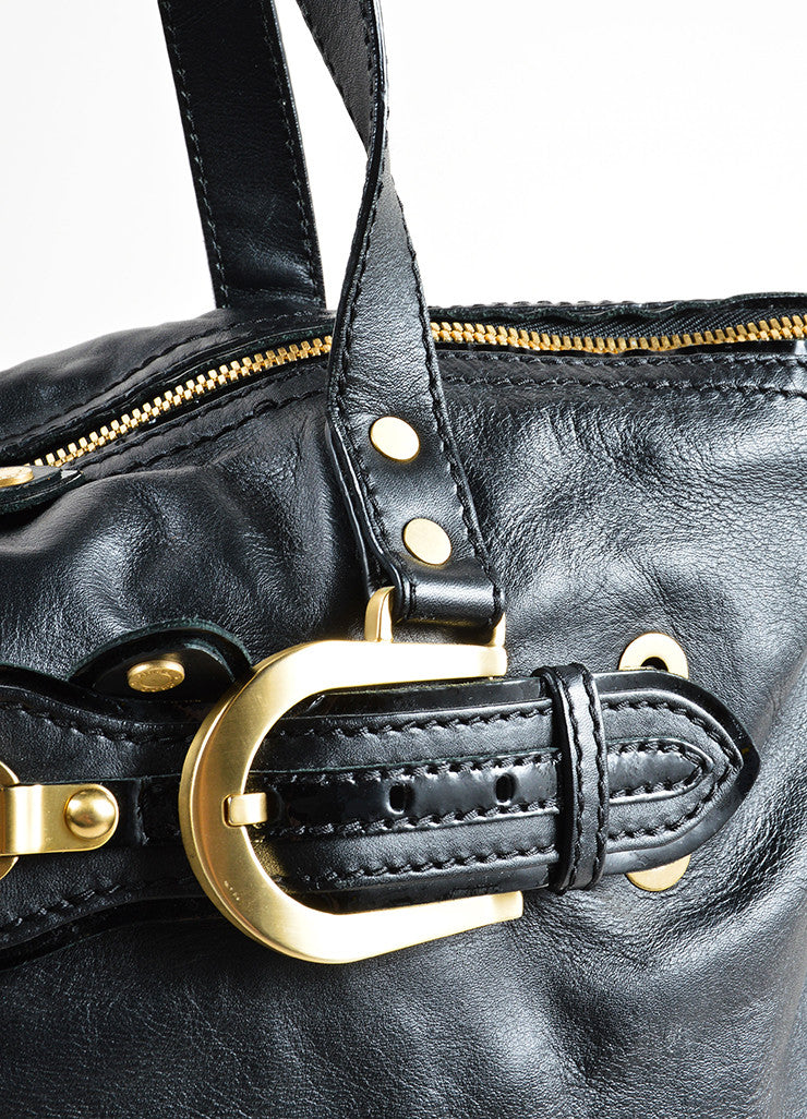 Jimmy Choo Black Leather Slouchy Belted East West Carryall Bag Detail 2