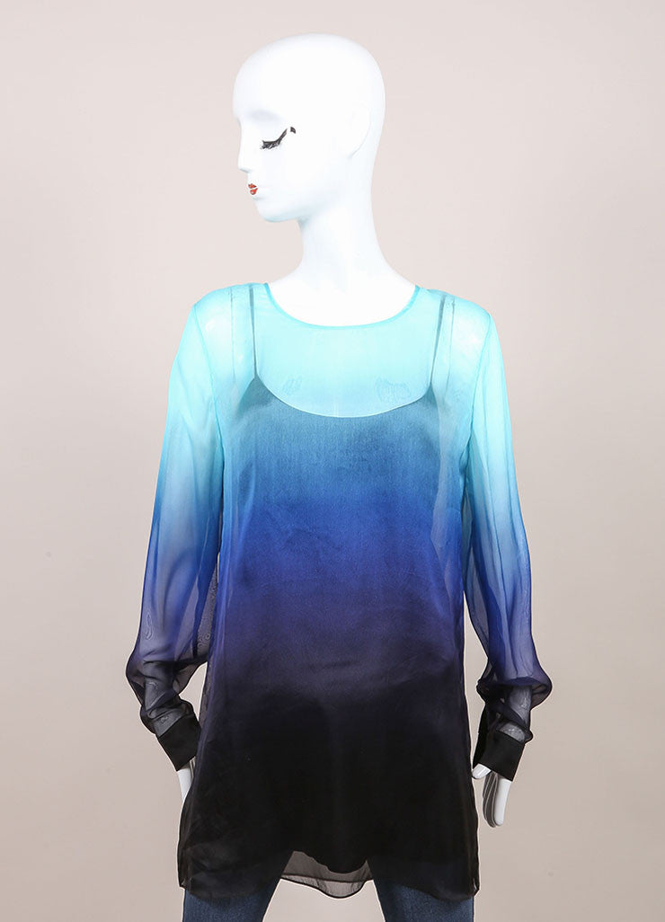"Jonathan Saunders New With Tags Blue and Black Silk Chiffon Ombre ""Curzon"" Blouse Frontview"