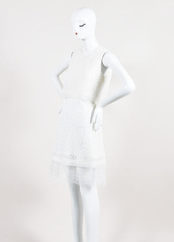 White Jonathan Simkhai Embroidered Lace Layered Cape Back Dress Sideview