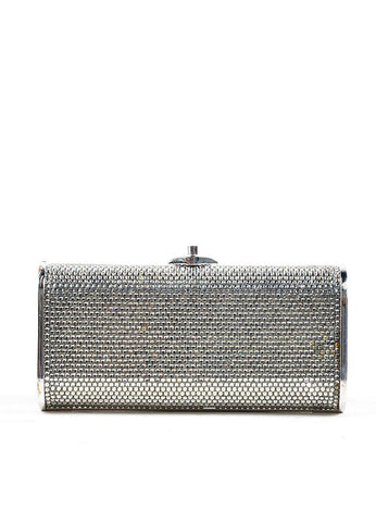 Silver Judith Leiber Rhinestone Embellished Minaudiere Clutch Bag Frontview