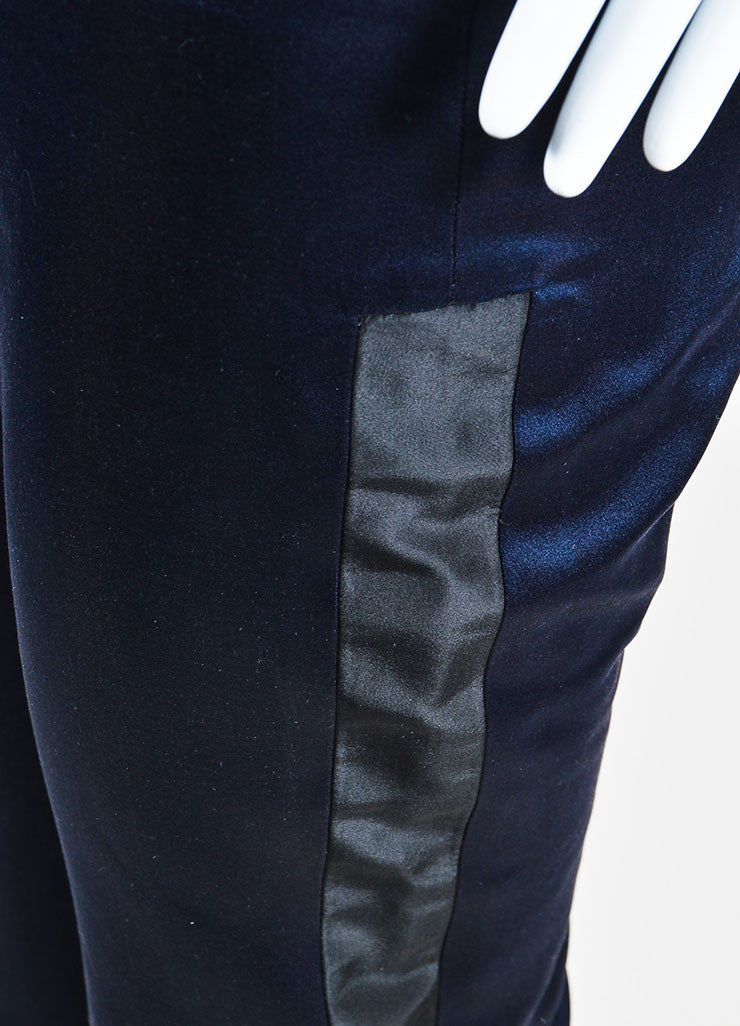 Karolina Zmarlak Navy and Black Silk Taffeta Trim High Waist Dress Pants Detail
