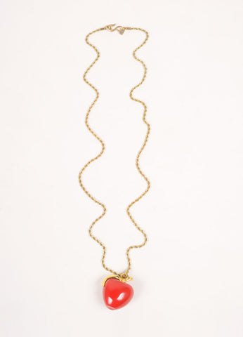 Kenneth Jay Lane Gold Toned and Red Chain Crystal Embellished Apple Pendant Necklace Frontview