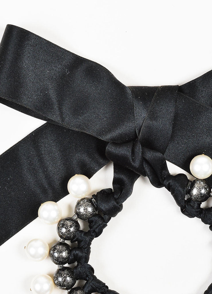 Black, Gunmetal, and Faux Pearl Lanvin Beaded Collar Ribbon Necklace Detail 2