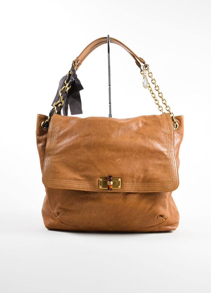 "Lanvin Brown Grained Chevre Leather Bow Chain ""Happy"" Shoulder Bag Frontview"