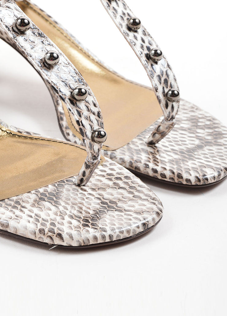 Lanvin White and Grey Snakeskin Studded Chunky Heel Thong Sandals Detail
