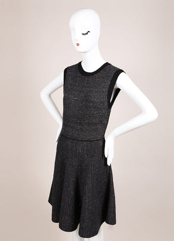 Louis Vuitton Black and Grey Silk Tweed Knit Sleeveless Flare Dress Sideview