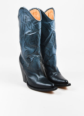 Maison Martin Margiela Two Tone Blue and Black Leather Rose Embossed Boots Frontview