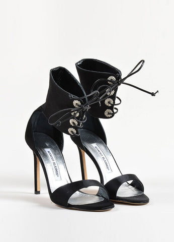 Manolo Blahnik Black Satin Rhinestone Lace Up Ankle Cuff Heels Frontview