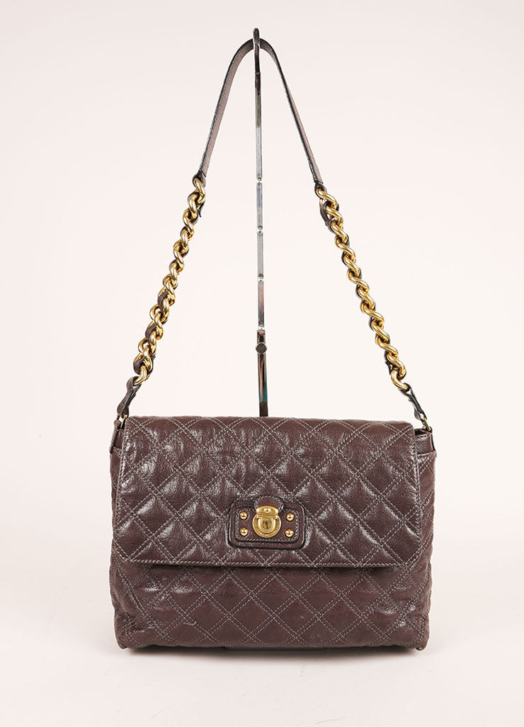 "Marc Jacobs Grey and Gold Toned Quilted Leather Chain Strap ""The XL Single"" Bag Frontview"