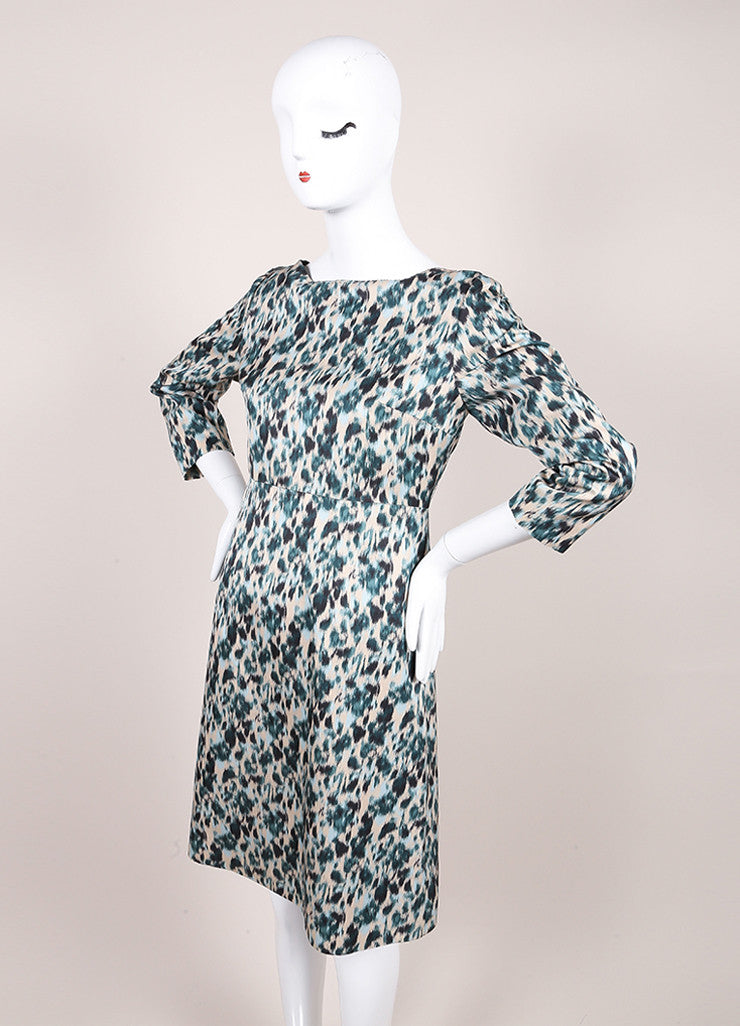 Marc Jacobs New With Tags Green and Multicolor Wool and Silk Printed Crop Sleeve Dress Sideview